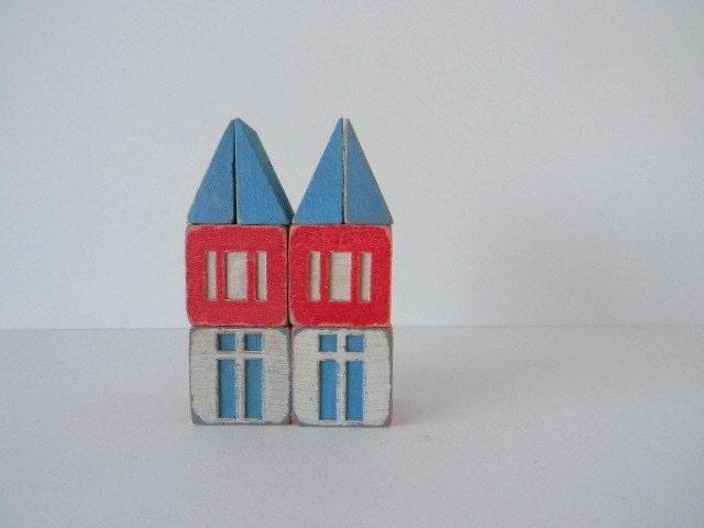 Set of 8 Vintage Scandinavian House Blocks