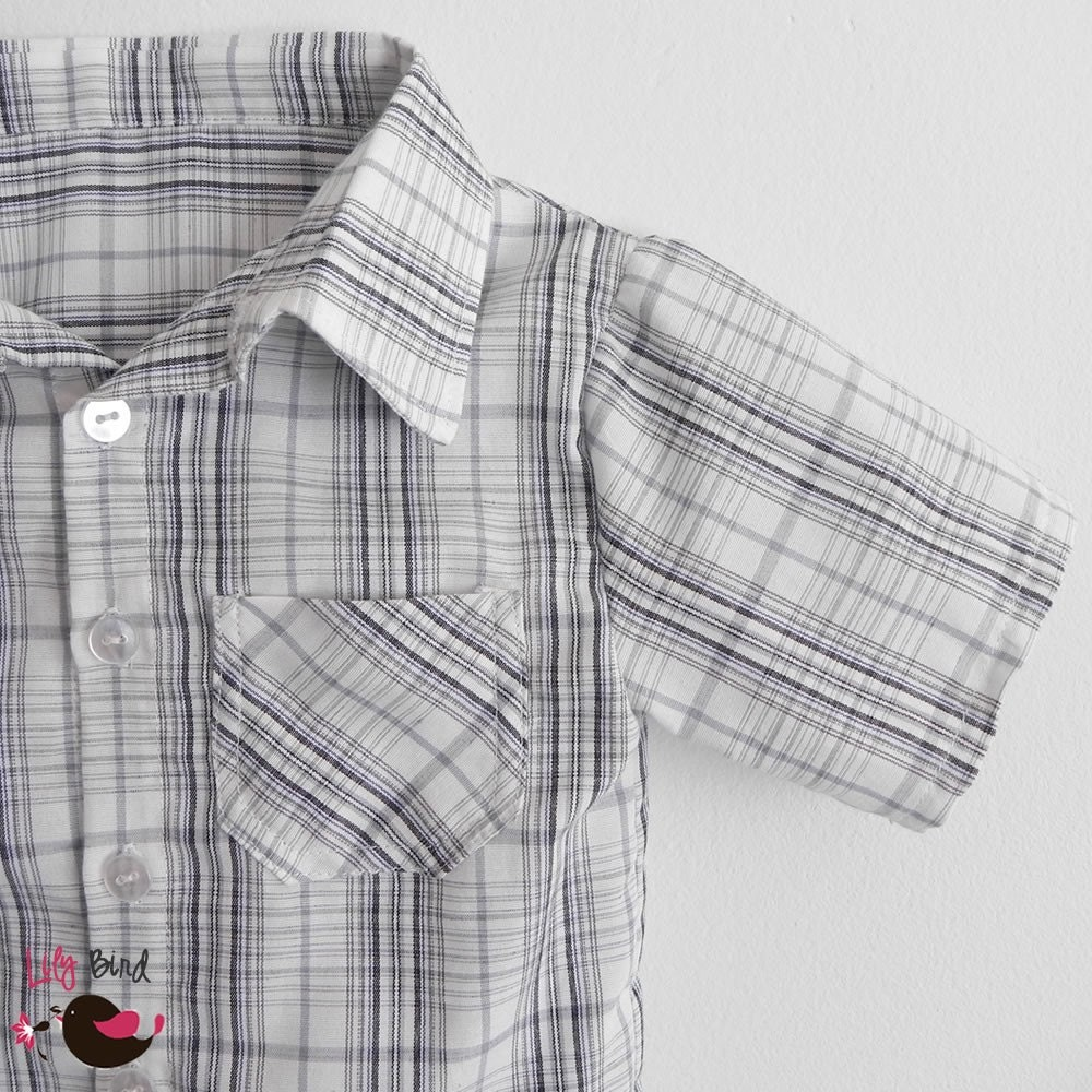Summer shirt for Boys - button up shirt with short sleeves - 12 months to 6 years - pdf Pattern and Instructions