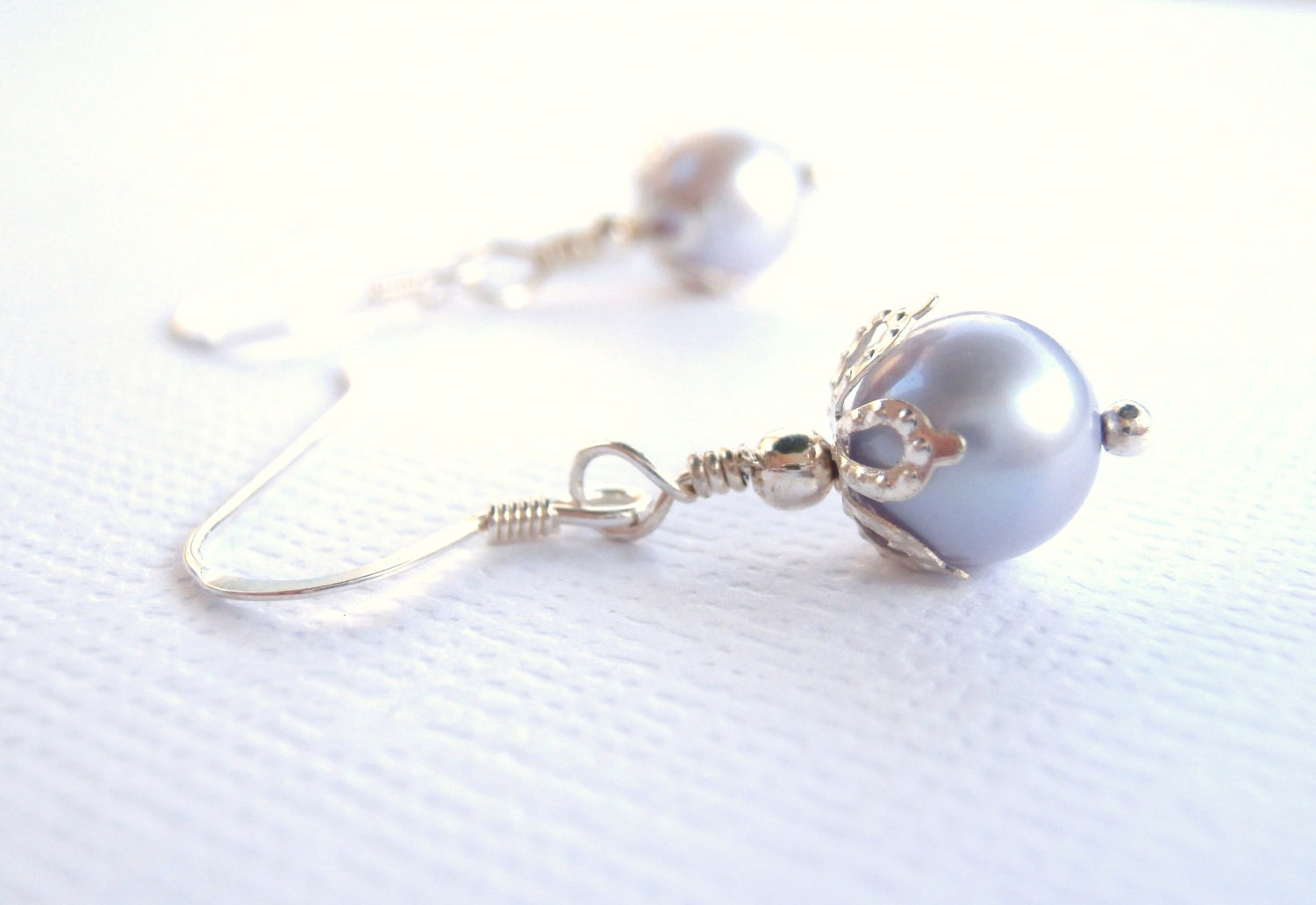 Freshwater Pearl Earrings, Lavender, Sterling Silver Ear Wires,  Wedding Jewelry, Bridesmaids, Girl, Women - ChristinesJewelry