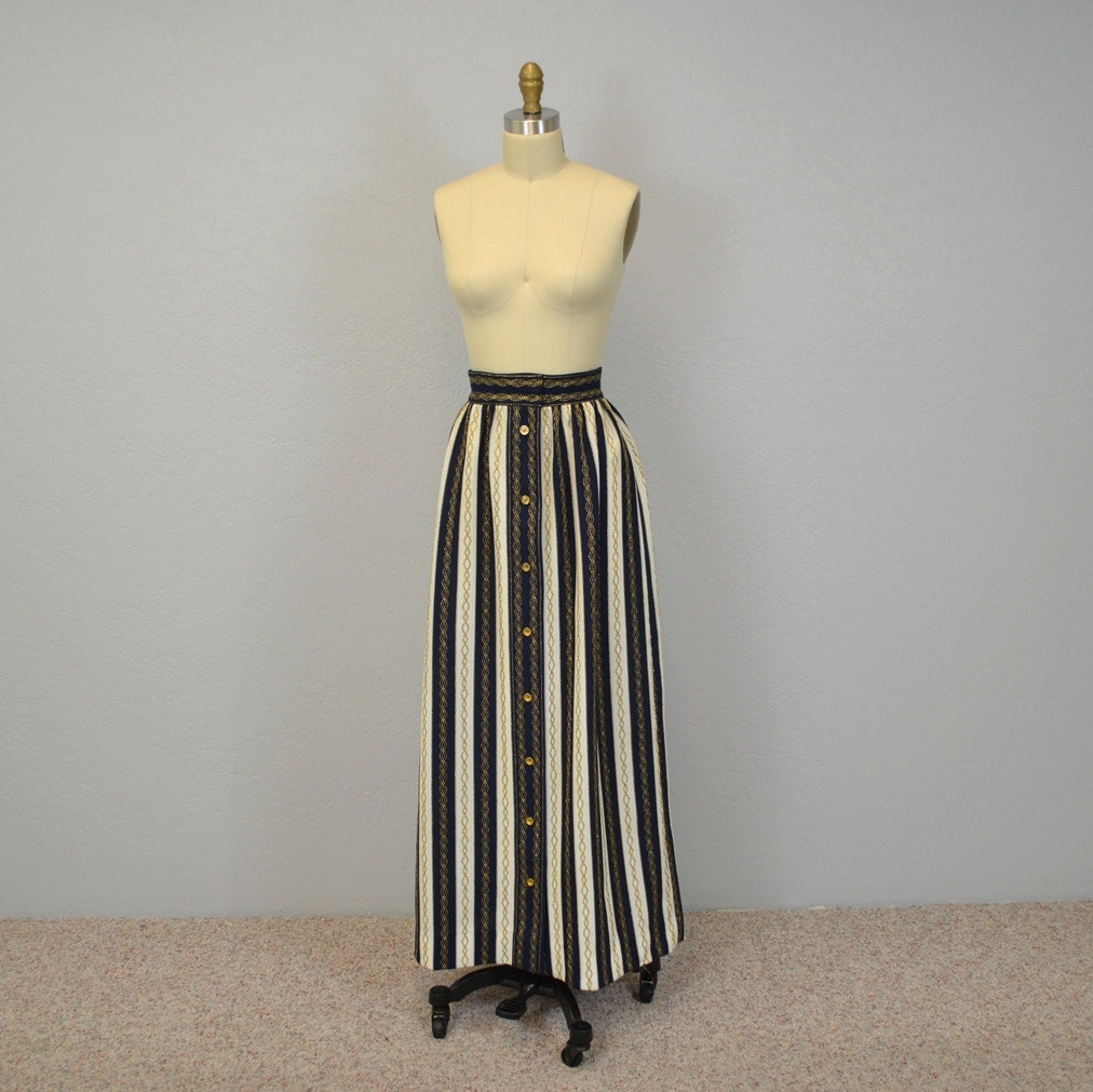 striped maxi skirt nautical navy white gold by