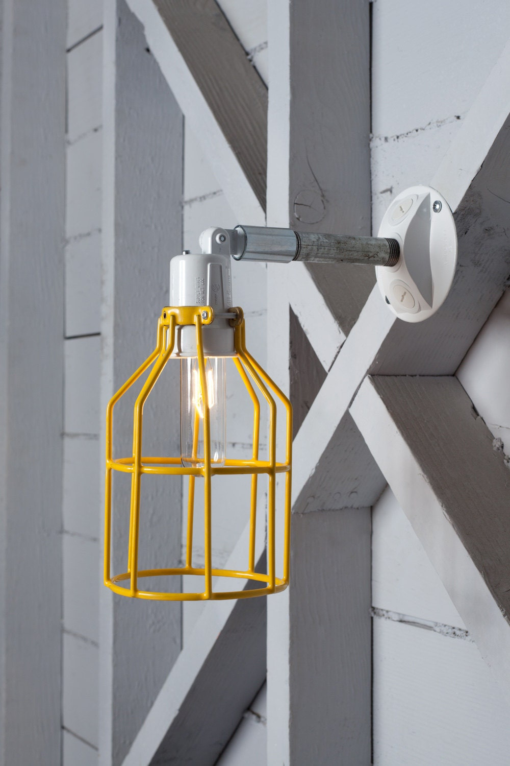 Industrial Wall Lamp Outdoor Yellow Wire Cage by IndLights