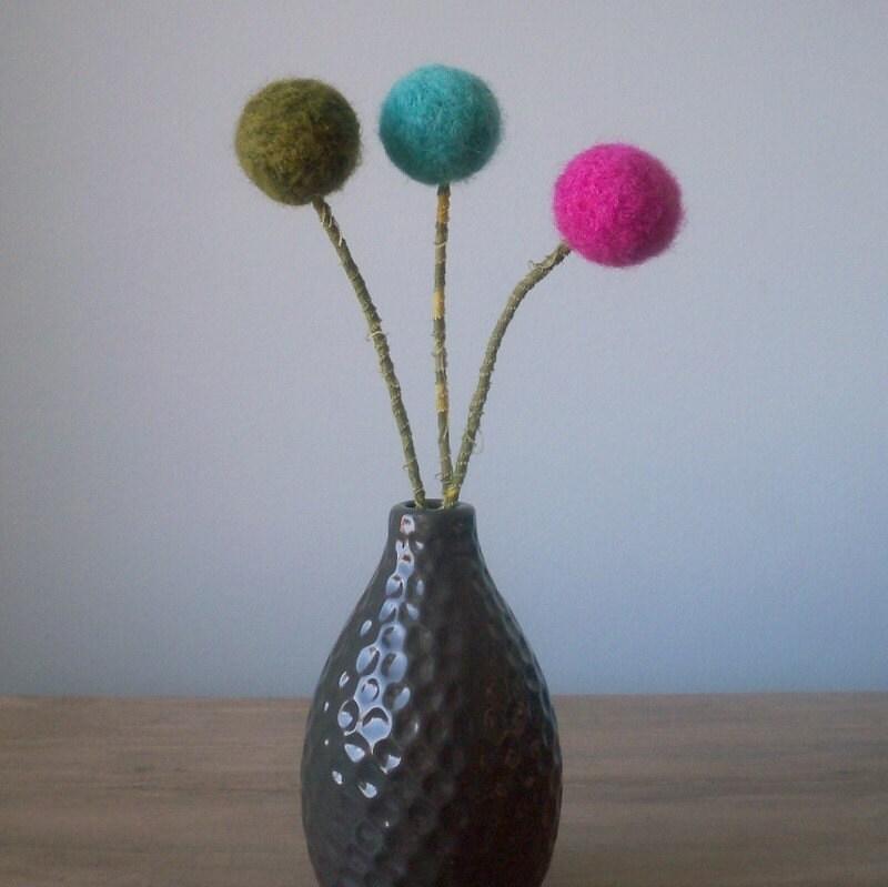 Needlefelted pom pom flower arrangement trio fun pops of color
