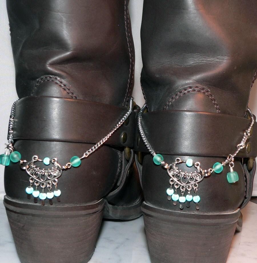 blue cowboy boot bracelet heel spur bling by