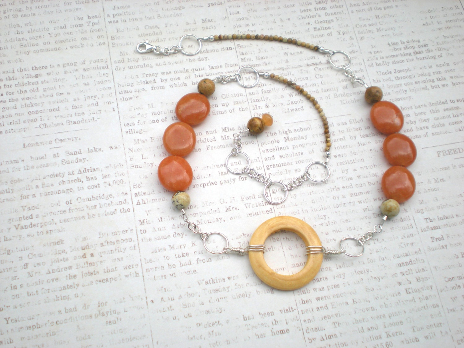 Round 'n round necklace, beaded natural stone, red aventurine, picture jasper, wood, sterling silver, unique jewelry by Grey Girl Designs - greygirldesigns