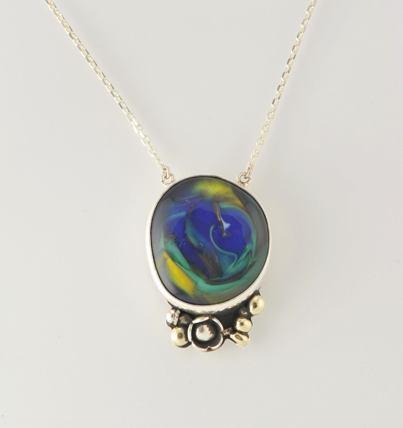 Cobalt Blue Yellow Green colors of Lampwork Glass Silver Necklace with Chain