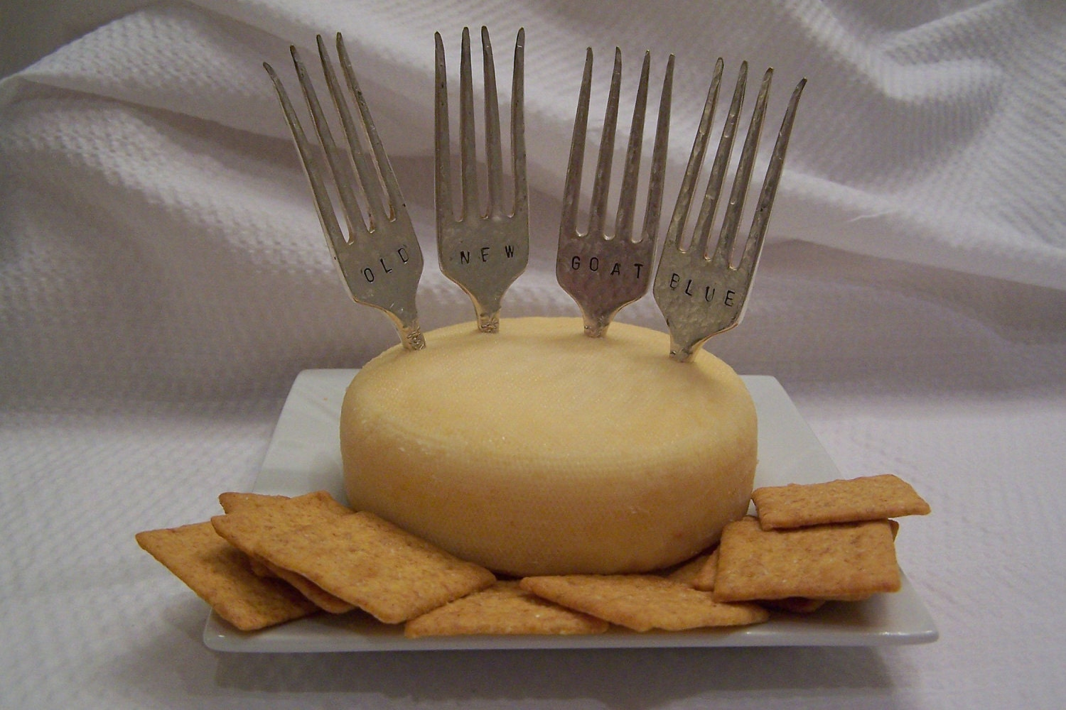 Cheese Markers - Old - New - Goat - Blue - Hostess Gift - Hand Stamped - Hand Hammered - Vintage Silverplate - Gift Basket - Under 20