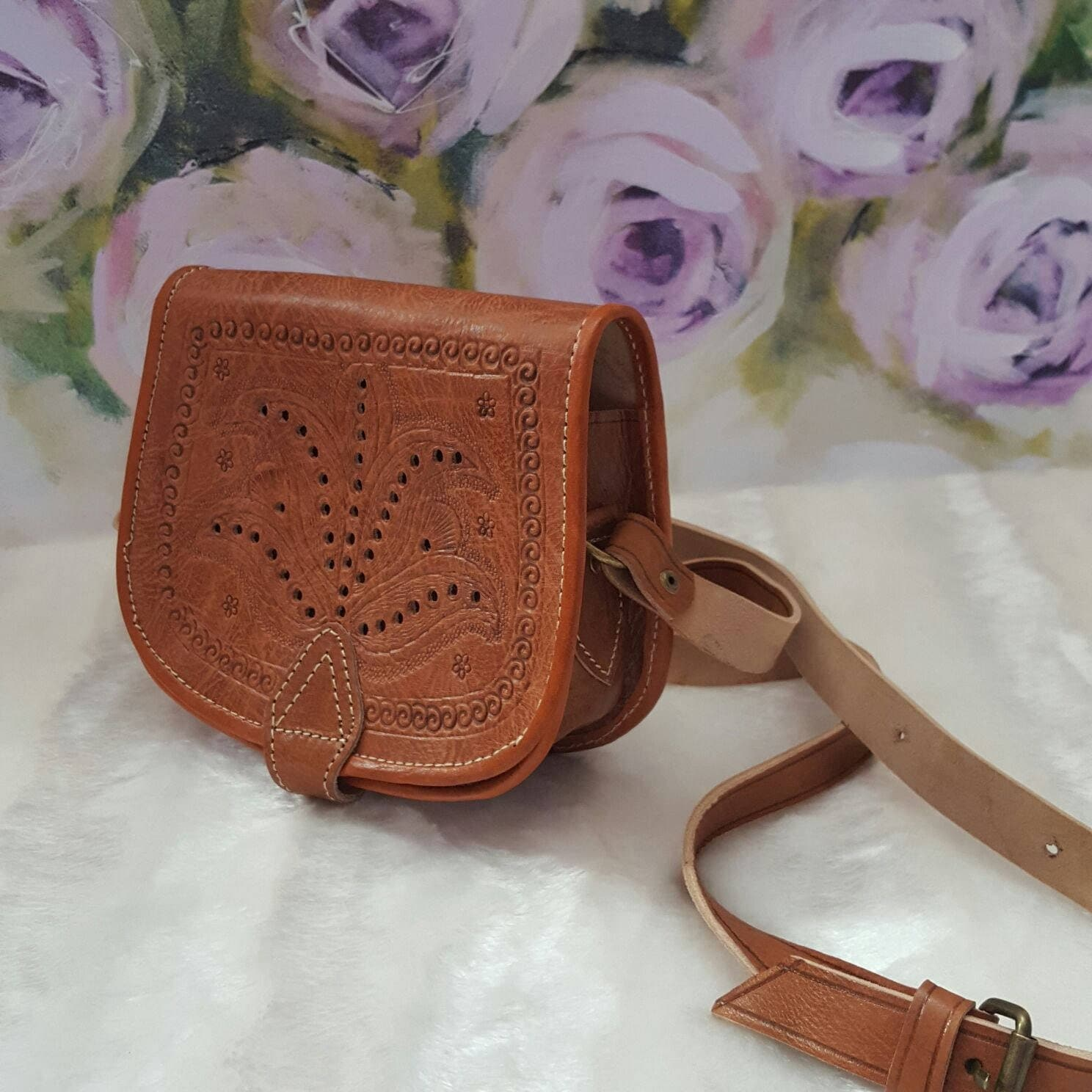 Moroccan Handmade crossbody messenger light brown leather bag