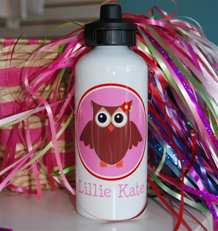owl girl personalized aluminum water bottle
