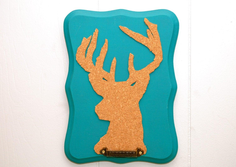 Cork Deer Bust Chalkboard Organizer
