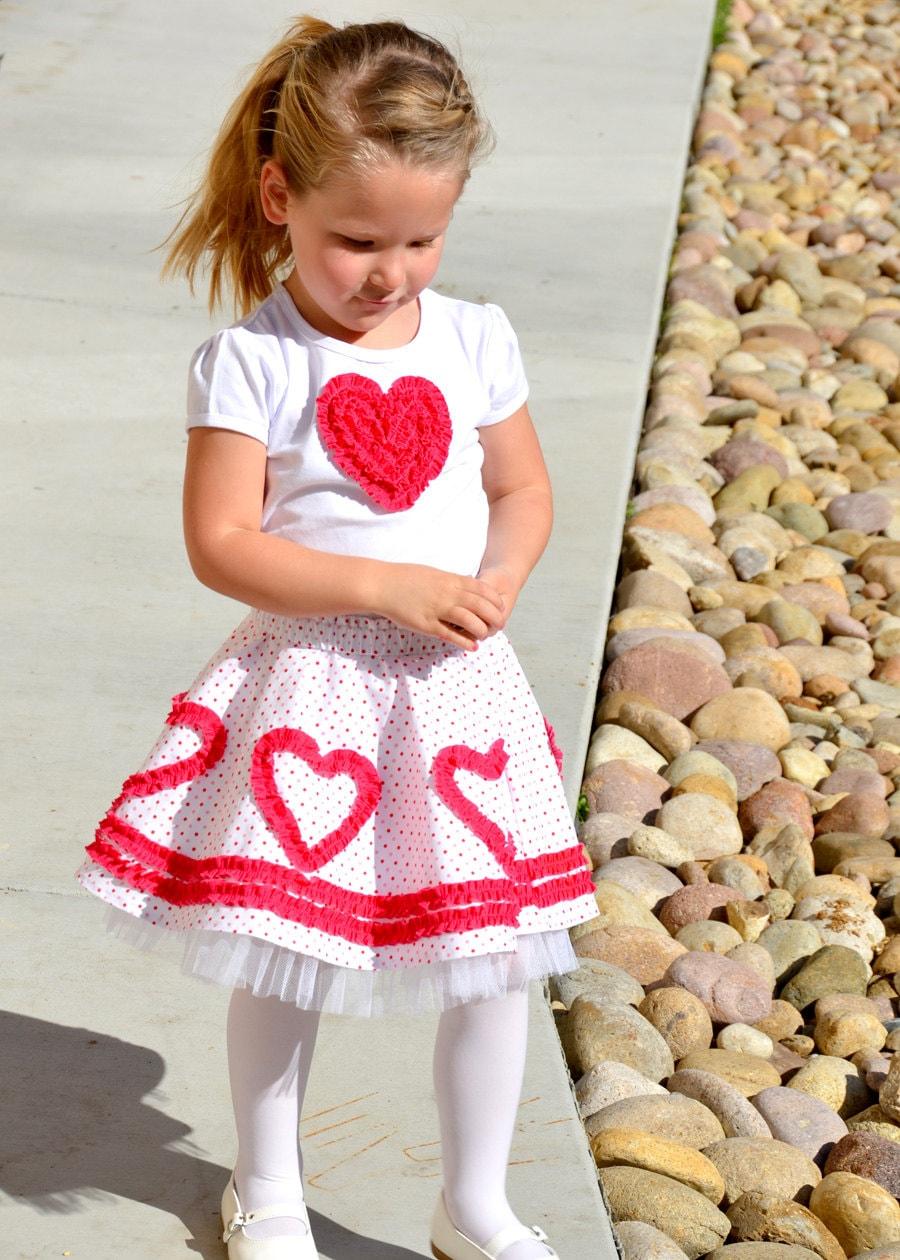 Valentine Heart Circle Skirt Pattern Girls By