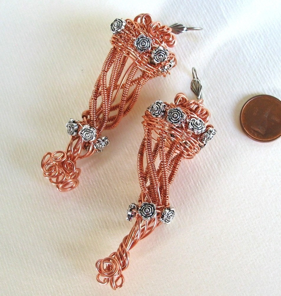 Copper wire wrapped and  silver  roses charms Earrings-Cornucopia