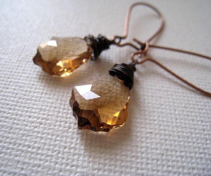 Simple Elegance. Swarovski Amber  Baroque Leaf Earrings