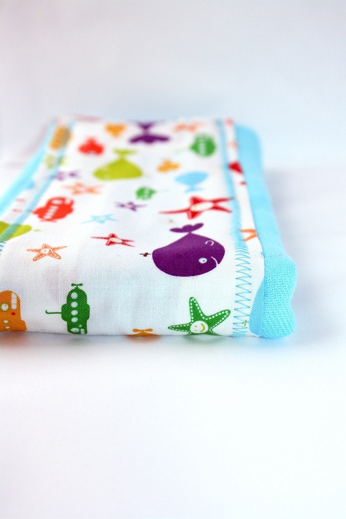 Sea Animals hand dyed Bright Blue Burp Cloth