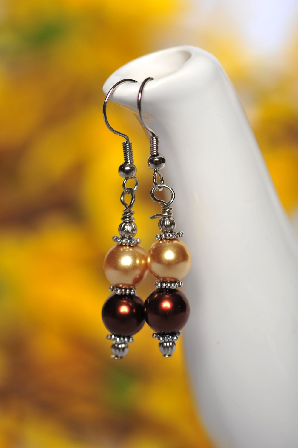 FREE SHIPPING - Swarovski Pearl Earrings - Dark Brown and Gold Pearls - Bridal Gifts - CreativeDesignsByEJ