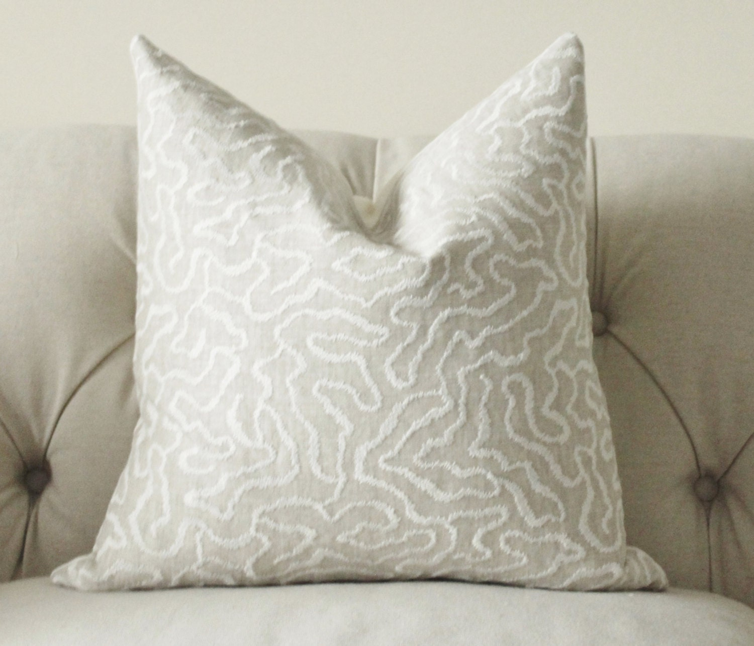 Greige Pillow Grey Beige Off White Geometric by MotifPillows