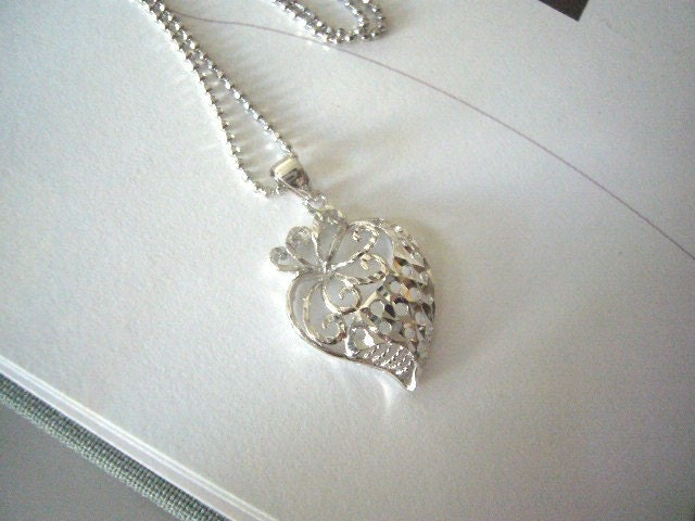 Strawberry Heart Charm Necklace- Sterling Sliver 925