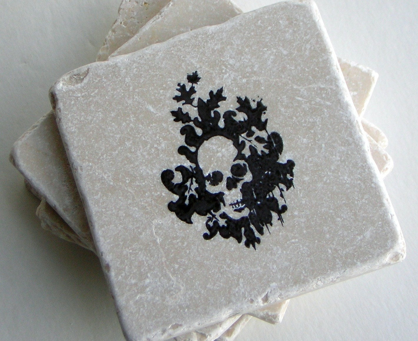 Skull Tile Coasters, Skeleton, Skulls, Day of the Dead Coasters, Goth Home Decor, Set of 4