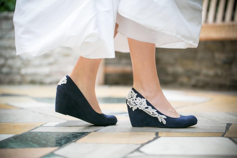 Wedding Shoes Navy Blue Wedges Bridal Heels By Walkinonair