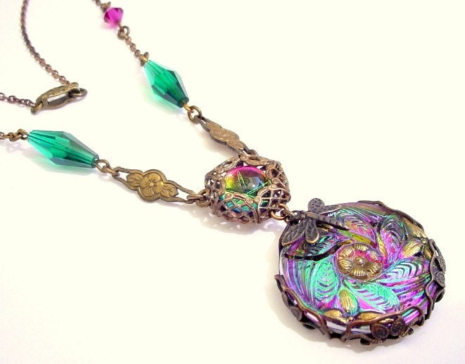 Dreaming in Color - Brass Filigree Wrapped Czech Button Glass Necklace with Dragonfly - Katofmanycolors