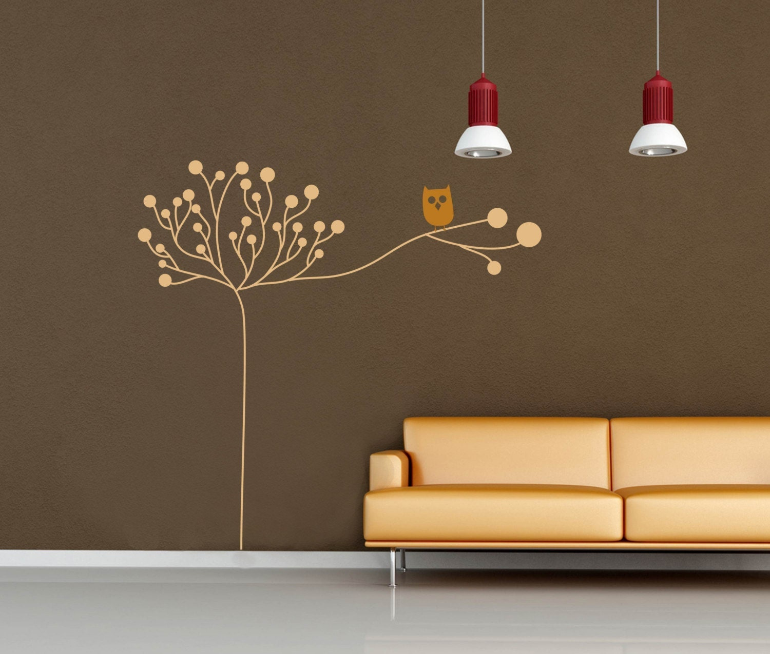 Owl on a Tree Design -- LARGE WALL DECAL -- Choose Two Colors