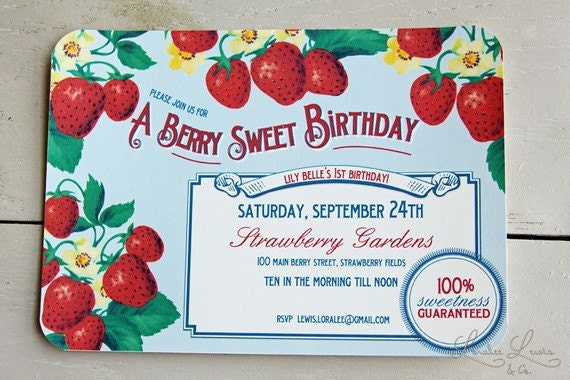 Thank You Card . Berry Sweet Collection . by Loralee Lewis