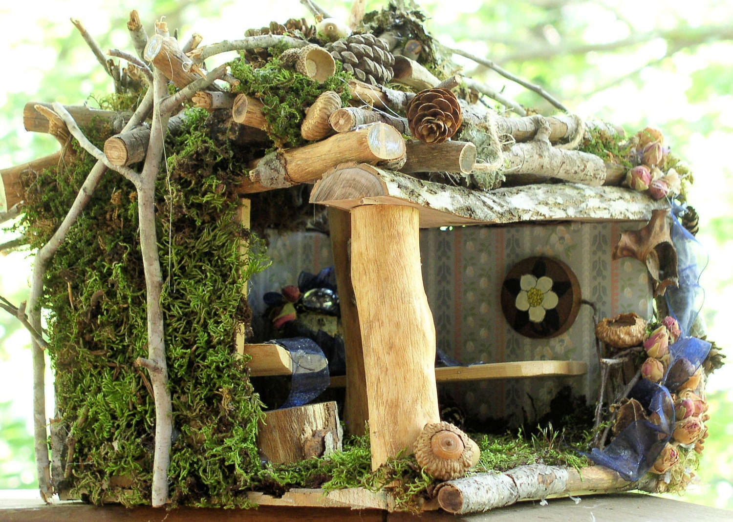 Fairy House Woodland Rose Cottage Fairy Furniture Custom One of a Kind