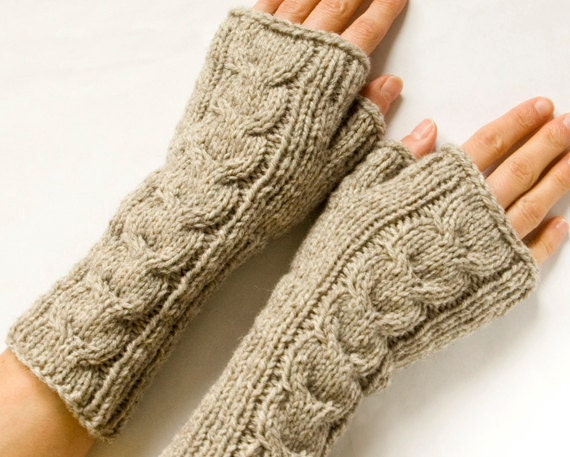 Long Cabled Fingerless Mittens, Beige Fingerless Gloves, Knit Arm Warmers, Wrist Warmers - SCHandmade