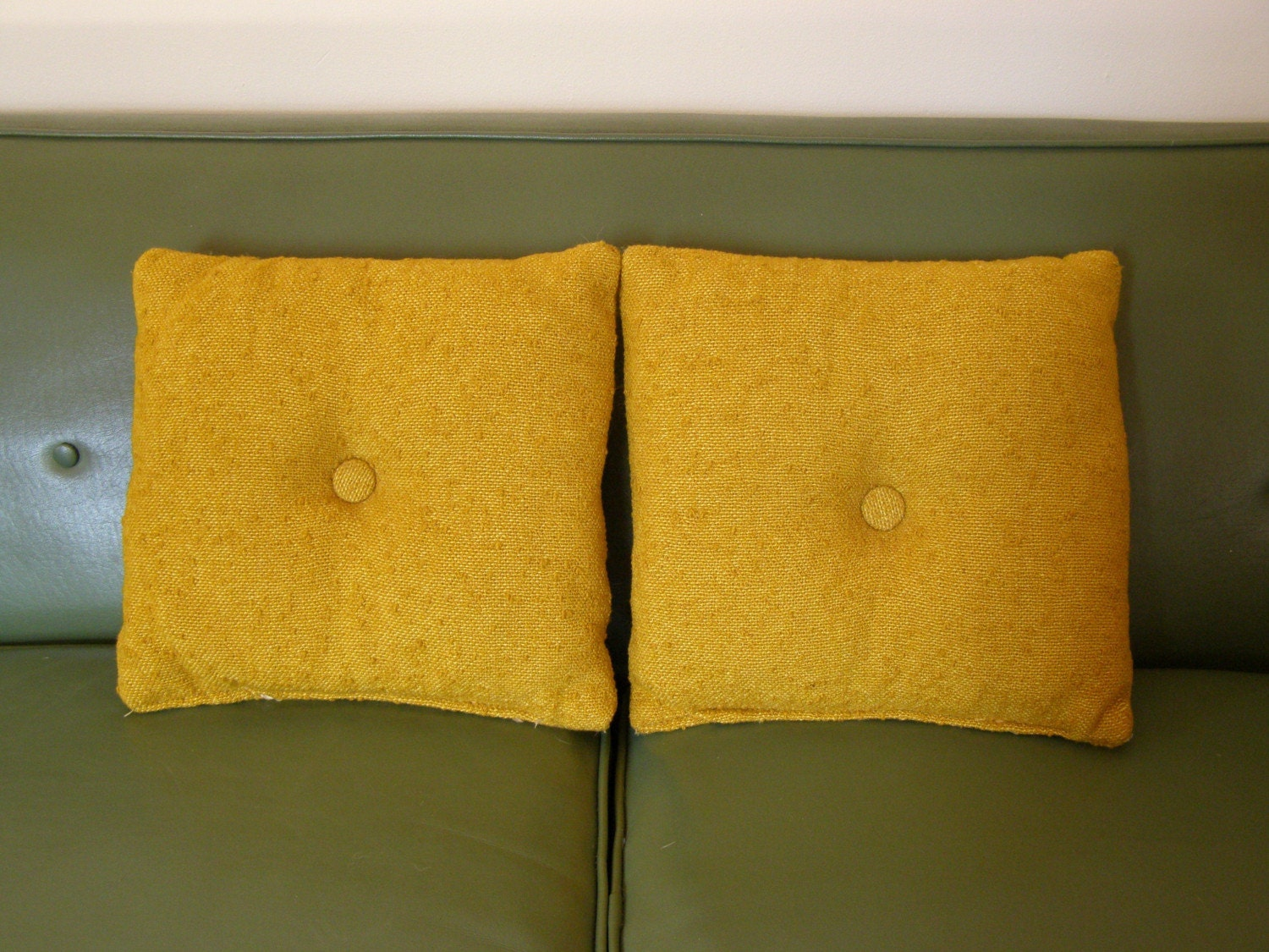 Vintage Handmade Goldenrod Pillows - Set of Two