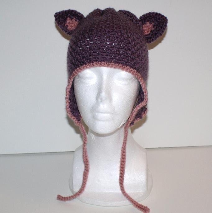 Crochet Pattern Child Hat Ear Flaps : Childs Kitty Ear Flap Hat Crochet Pattern by JacquiJCrochet