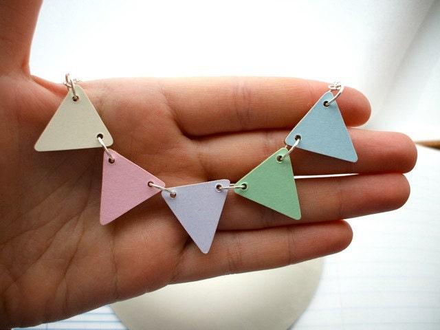 Wooden Bunting Flag Necklace - Pastels