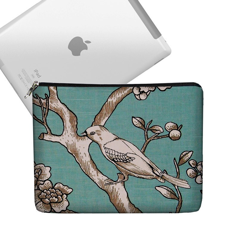 iPad Case Ipad Bag iPad Cover iPad Sleeve Ipad 1 Ipad 2 zippered padded   - Bird on Branch Blue