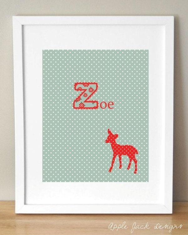 Baby Name Deer Woodland Forest Nursery Art Print Printable
