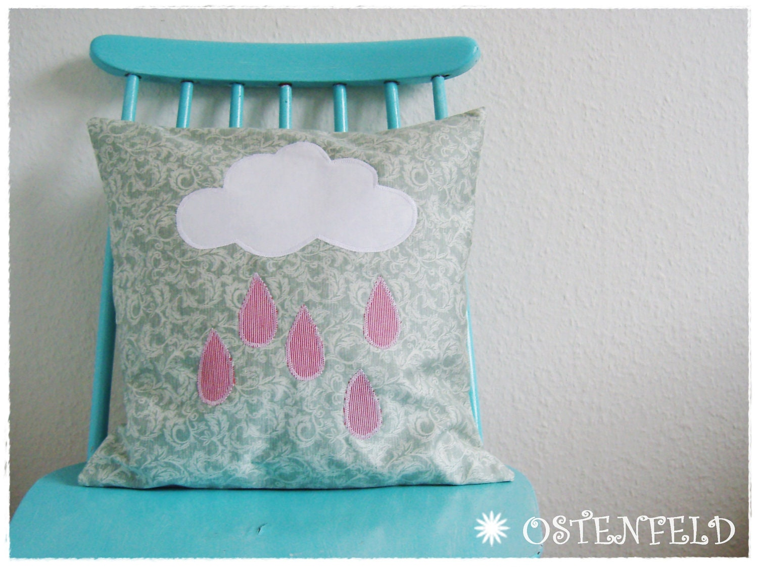 Applique cushion cover -  pillow case, Cloud with raindrops