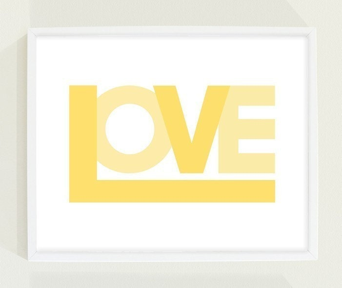 Typography Poster - Love will save the day poster in yellow
