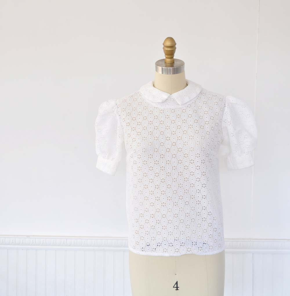 Vintage 60s Eyelet Lace Blouse by MariesVintage on Etsy from etsy.com