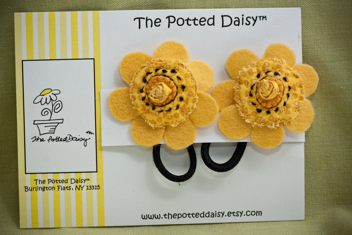 Ponytail Holders: Flowered Pony Tail Holders with detailed hand embrodiery (Set of Two) - thepotteddaisy