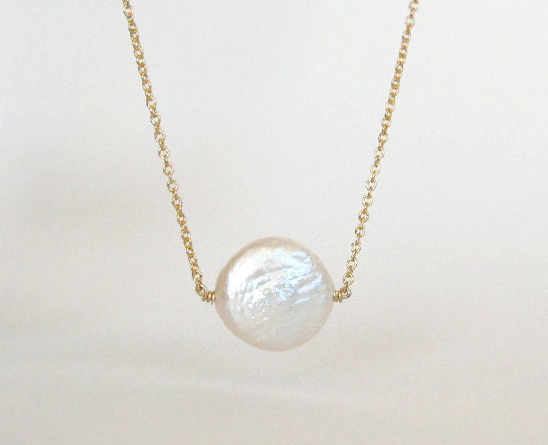 dainty freshwater coin pearl necklace on gold or by
