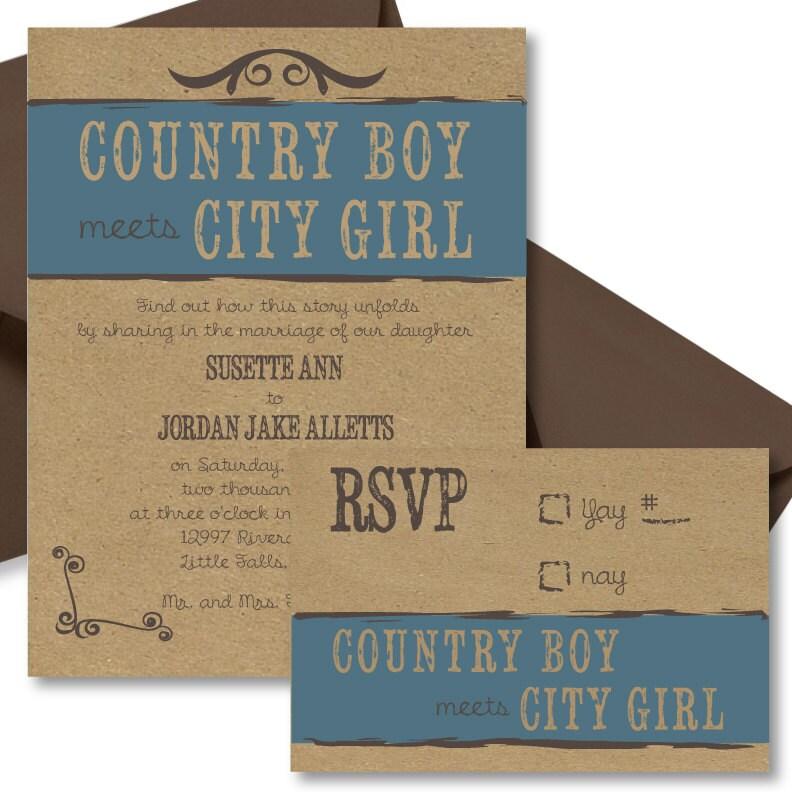Country Boy Meets City Girl Wedding Invitation By SimplisticStudio