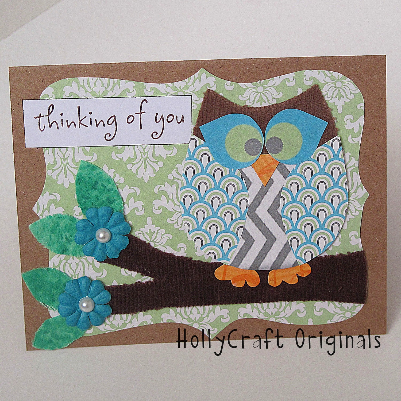 Etsygreetings Handmade Cards Handmade Fabric And Paper Owl Thinking