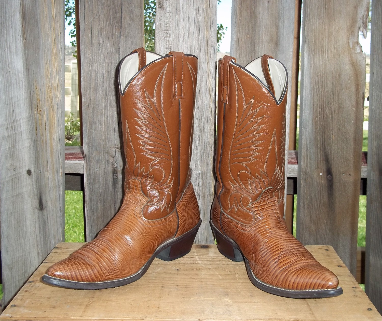 vintage cowboy boots clearance sale brown leather by sokookie