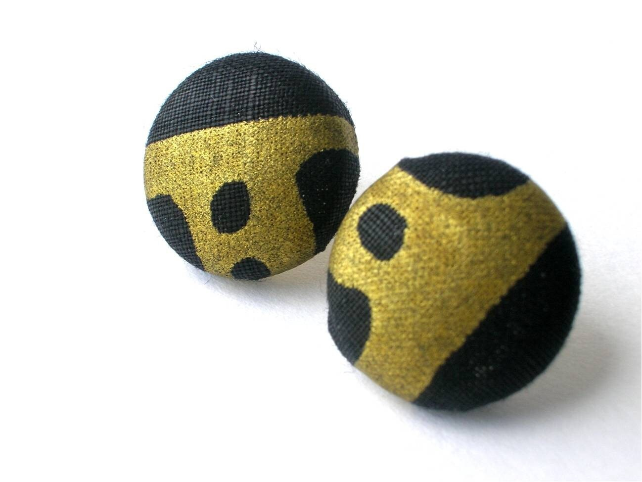 African Print black and metallic Gold Ear Buttons Earrings