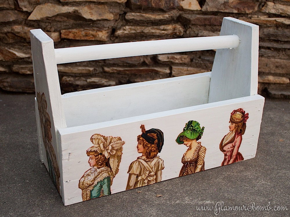 French Shabby Wooden Tool Box / Caddy