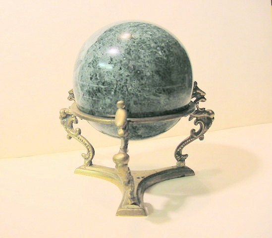 Green Marble Ball : Vintage green marble ball with brass dragon by