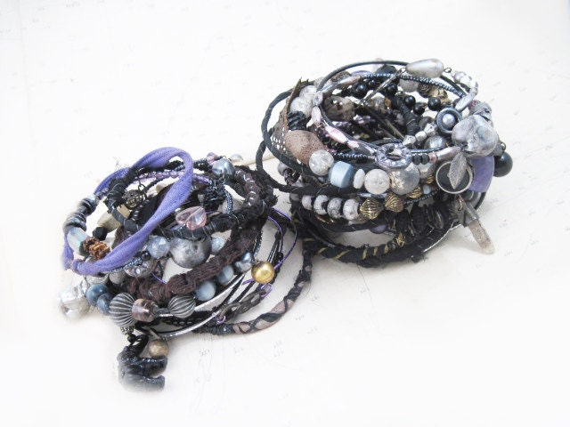 Choose the Unknown. Tribal Gypsy Assemblage Bangle Stack in black grey and purple..