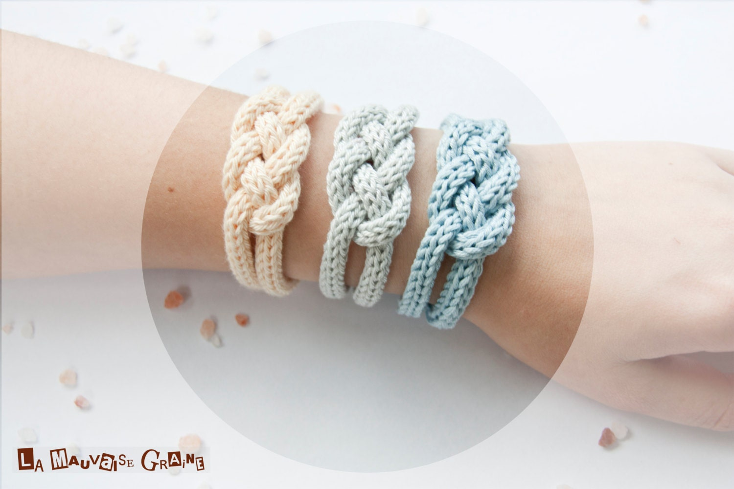 "French knitted cotton bracelet - ""rising sun"" - LaMauvaiseGraine"