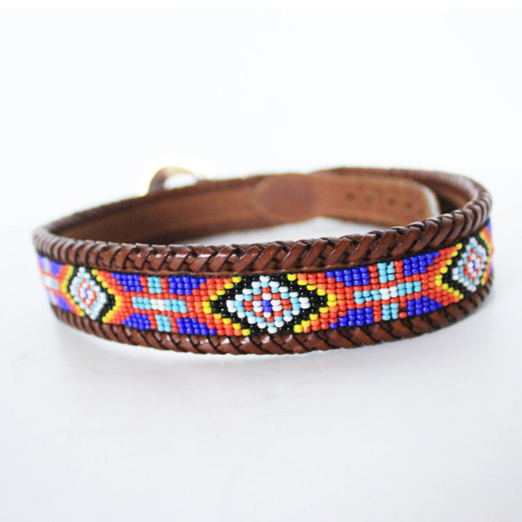 vintage beaded navajo brown leather belt by dreamingneon