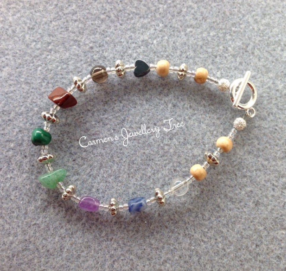 CHAKRA Gemstone Bracelet with Hematite Smoky Quartz Red Jasper Malachite Aventurine Quartz Amethyst Sodalite  Rock Crystal
