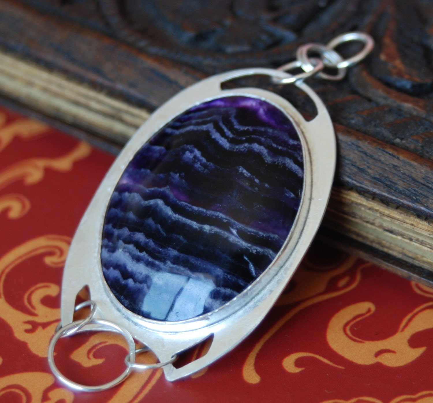Eye of Purple Agate Sterling Silver Handmade Pendant