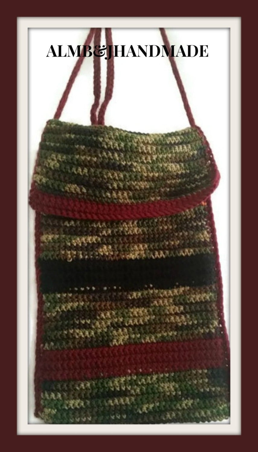 Cross Body Bag , Crochet Purse , Camo Tote Bag , Crochet Hand Bag ...