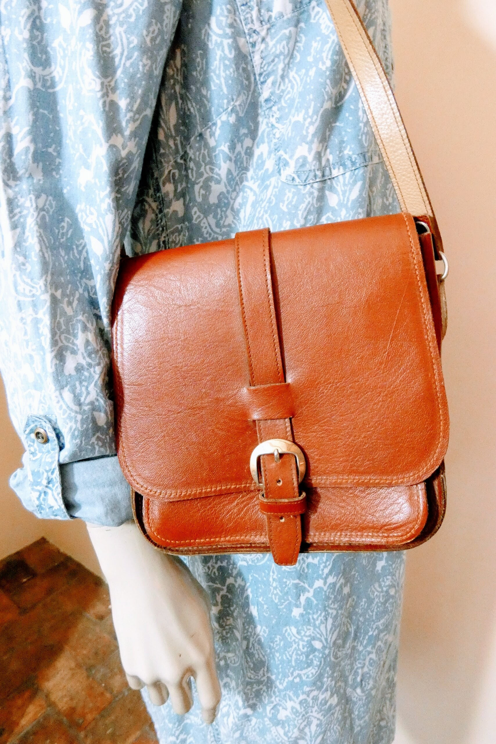 Original Vintage 70s Leather Satchel Brown Messenger Bag Shoulder Handbag
